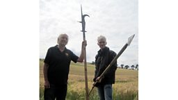 Clive Hallam Baker and Tom Holland with the weapons used at Flodden. (Photo: Nick Patrick)