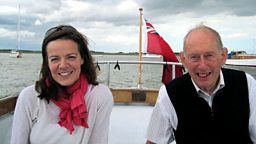 Helen Castor with historian Richard Barber afloat on the River Deben