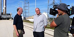 Dara O Briain filming with Bruce Jakosky of NASA