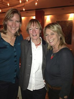 Katherine Grainger, Harriett Gilbert and Fern Britton at A Good Read recording.JPG