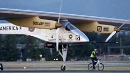 Solar-powered plane takes off again