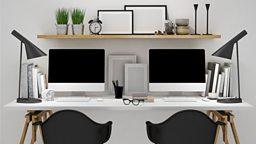 Hot desk 无固定办公桌的现代办公室