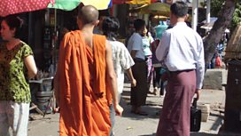Monk on the streets of Rangoon