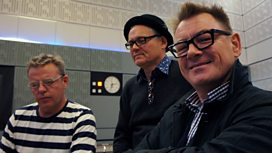Suggs, Mike Barson and Chas Smith during the studio recording