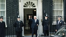 Harold Wilson leaves Downing Street upon his resignation