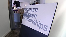 A sign reads: Museum of Broken Relationships