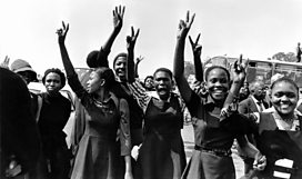 Students protest in Soweto against the introduction of Afrikaans in schools, 1976, BBC/Clarity Films/Peter Magubane