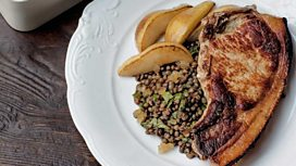 Allegra McEvedy's pork chops with pears and lentils