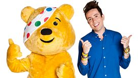 Nick Grimshaw and Pudsey give the thumbs up to all the heroes who have paid in their fundraising cash!