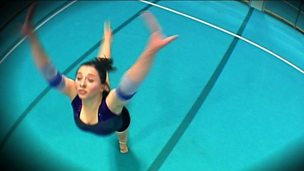 A gymnast describes and practices her floor routine