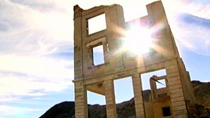 The ghost town of Rhyolite in Death Valley