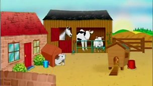 Animated story - the farm animals try and wake the farmer