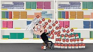 A cartoon Andy Warhol with soup cans