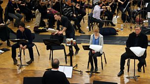 Image for Epilogue (Neil Brand with actors: Stephen Mangan, Claire Skinner, Philip Jackson, Carl Prekopp and conductor Timothy Brock)