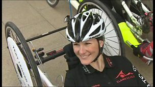 Image for Claire Lomas swaps her robotic suit for a hand bike