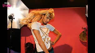 Image for Rylan Clark poses in our wind machine photo booth!