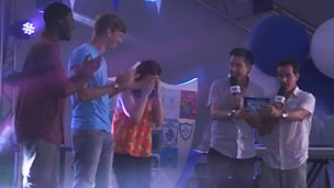 Ben, Freddie and Lindsey on stage with Dick and Dom