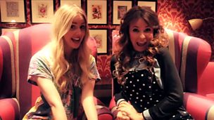 Stacey-May and Diana Vickers sit next to each other facing the camera