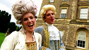 Ed Petrie and Holly Walsh in regency costumes
