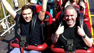 Image for Monday - with Olly Murs revising on a rollercoaster