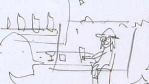 Image for An animation storyboard of Billy gatecrashing the Brit Awards