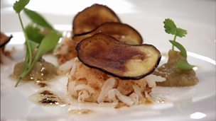 Image for Brown crab meat flan, aubergine chips and coconut flat bread