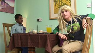 Dibber and Healey from Rocket's Island. Healey is dressed as a girl, with a blonde wig.