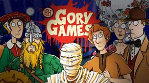 Illustrated historical characters with the Gory Games logo in the background.