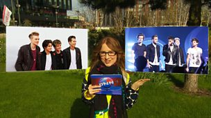 Beatrice Rhodes from DNN with images of The Vamps and One Direction.