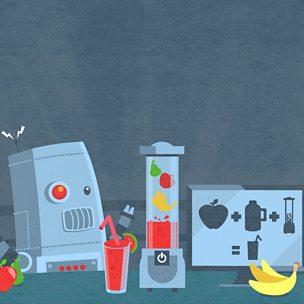 A robot following an algorithm to make a smoothie.