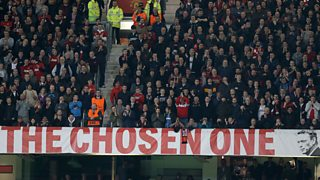 A banner calls for Manchester United manager David Moyes to be sacked.