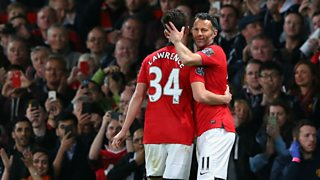 Hear the reception that Giggs gets as he comes on as sub for young Welsh winger Lawrence