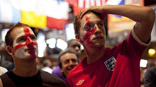 A montage of England fans calling in to 606 over the past 16 years.