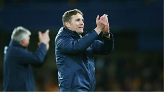 Bradford boss Phil Parkinson reacts after his team beat Chelsea 4-2 in the FA Cup