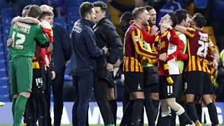 Bradford captain Stephen Darby gives his reaction to his team's 4-2 defeat over Chelsea.