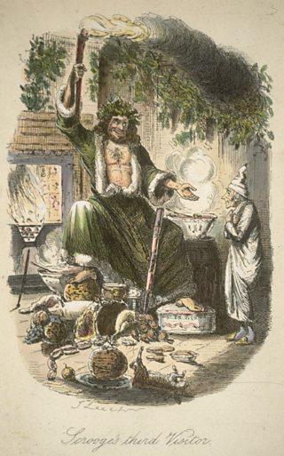 """Ghost of Christmas Present"", ilustracja Johna Leecha dla Charlesa Dickensa ""opwieść wigilijna"" 1843 r."