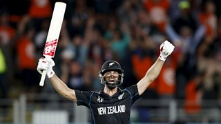 Grant Elliott hits six off the penultimate delivery to secure NZ World Cup final place.