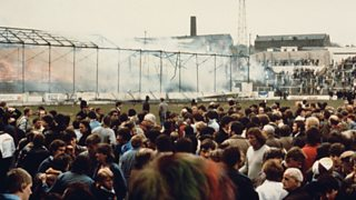Commentator John Helm remembers how the Bradford City fire broke out.