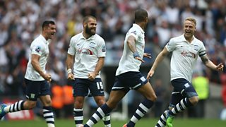 Preston win promotion to the Championship after beating Swindon in the play-off final.
