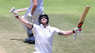Ben Stokes hits a 163-ball double century for England against South Africa in Cape Town.
