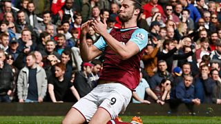 Andy Carroll scores a hat-trick as West Ham and Arsenal draw 3-3.