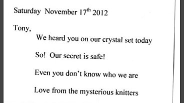 The mystery knitter gets in touch