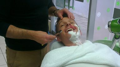 Image for Jez gets a traditional cut-throat shave