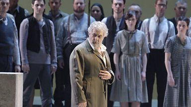 Image for Placido Domingo talks about taking on baritone roles, including Nabucco, after only having done the smaller tenor role of Ismale