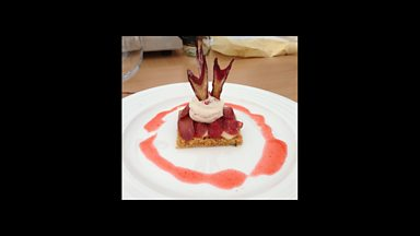 Image for Poached rhubarb with strawberry cream on rosemary biscuit base