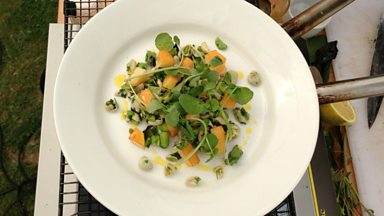 Image for Neil Forbes' Broad bean, smoked cheddar, mint and watercress recipe