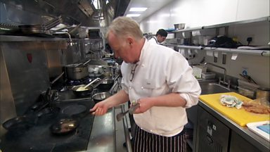 Image for The contestants are in a professional kitchen and comedian Les Dennis is feeling the pressure