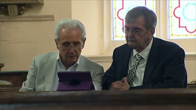 Image for Tony Christie reminisces with his old friend Jim Beachill at his childhood church, St Albans, in Denaby.