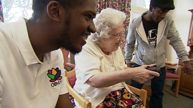 Image for Gamers visit an old people's home