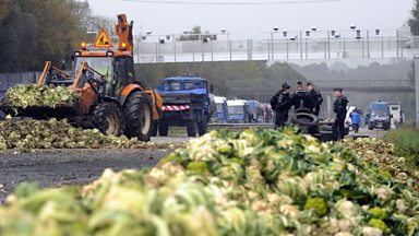 Image for French cauliflower protests in Britanny delay road tax